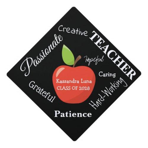 Future Teacher Words With Apple Graduation Cap Topper