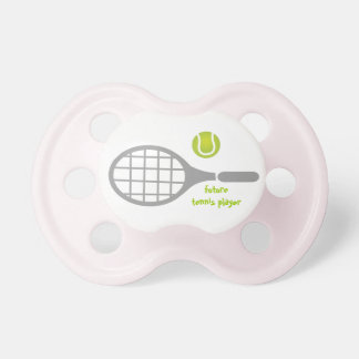 Future tennis player, tennis racket and ball pacifier