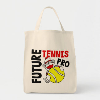 Future Tennis Pro Sock Monkey Grocery Tote Bag
