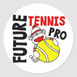 Future Tennis Pro Sock Monkey Round Sticker