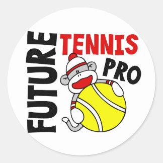 Future Tennis Pro Sock Monkey Round Sticker