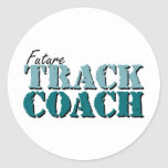 Future Track Coach teal Round Stickers