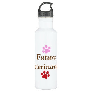 Future Veterinarian-Colorful Paw Prints Stainless Steel Water Bottle