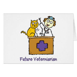 Future Veterinarian - Girl with Cat Greeting Card