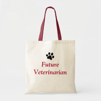 Future Veterinarian with Black Paw Print Tote Bag