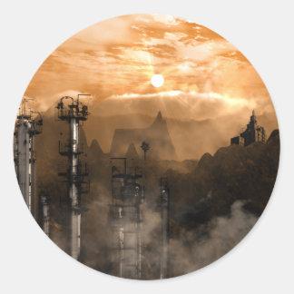 Futurescape Sci-Fi Gothic Landscape Classic Round Sticker