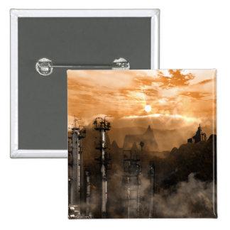 Futurescape Sci-Fi Gothic Landscape Pinback Button