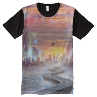 FutureVision Men's All-Over Printed Panel T-Shirt