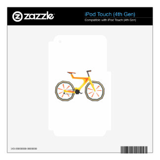 Futurictic Design Yellow Bicycle. Cool Colorful Decal For iPod Touch 4G