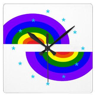 Futurismo retro del reloj del arte del arco iris n