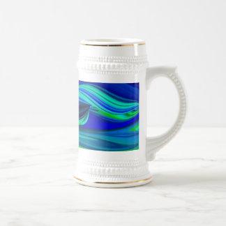 futurista en verde azul abstractamente lila y taza de café