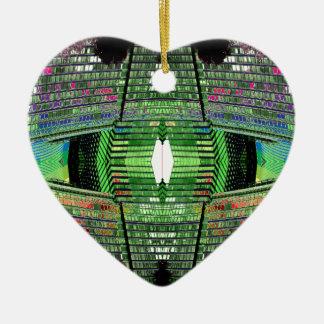 Futuristic Abstract Heart Ceramic Ornament 2