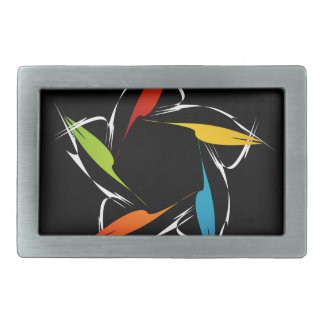 Futuristic artwork rectangular belt buckle