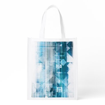 Professional Business Futuristic Background with Technology Abstract Grocery Bag