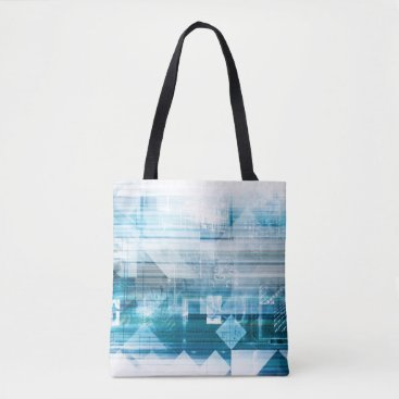 Professional Business Futuristic Background with Technology Abstract Tote Bag