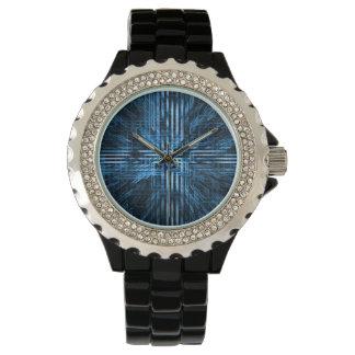 Futuristic, blue matrix/gridlock/circuitry/linear. watch
