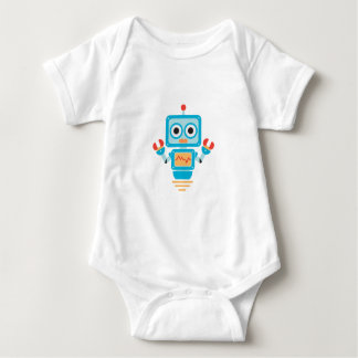Futuristic Blue, Red, and Yellow Cartoon Robot Baby Bodysuit