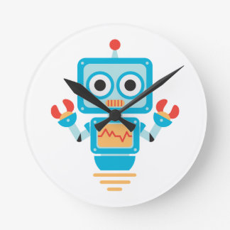 Futuristic Blue, Red, and Yellow Cartoon Robot Round Clocks