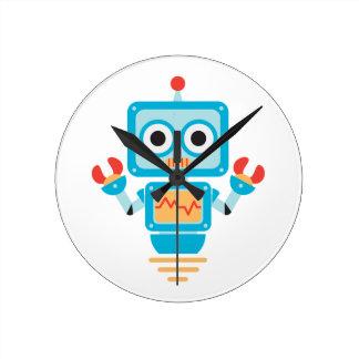 Futuristic Blue, Red, and Yellow Cartoon Robot Round Clocks