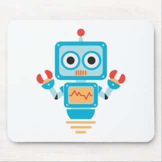 Futuristic Blue, Red, and Yellow Cartoon Robot Mouse Pad