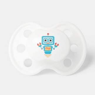 Futuristic Blue, Red, and Yellow Cartoon Robot Baby Pacifier
