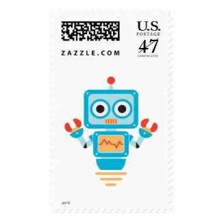 Futuristic Blue, Red, and Yellow Cartoon Robot Postage