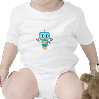 Futuristic Blue, Red, and Yellow Cartoon Robot Baby Bodysuits