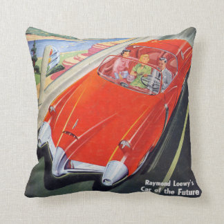 futuristic car 50s comic book style pillow cushion pillows