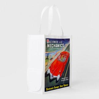FUTURISTIC CAR (VINTAGE MAGAZINE COVER) GROCERY BAG