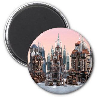 Futuristic City 2 Inch Round Magnet