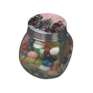 Futuristic City Glass Candy Jar
