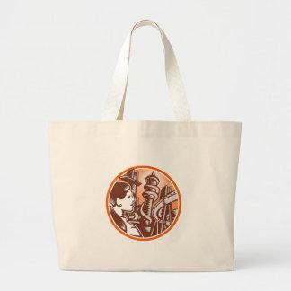 Futuristic City Woman Side Circle Woodcut Tote Bag