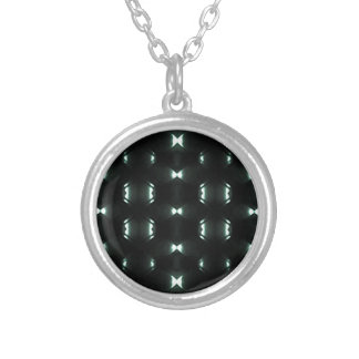 Futuristic Dark Hexagonal Grid Pattern Design Round Pendant Necklace