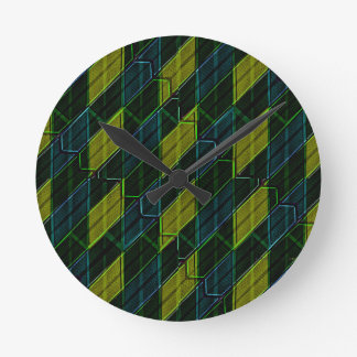 Futuristic Dark Pattern Round Clock