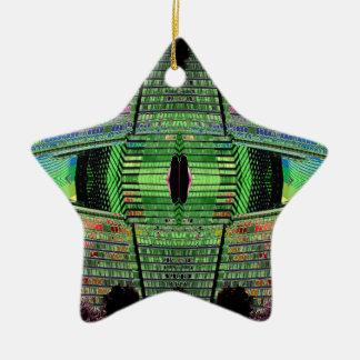 Futuristic Designer Abstract Star Ceramic Ornament