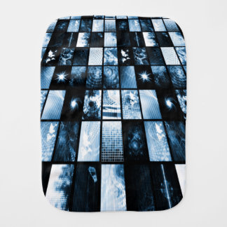 Futuristic Digital Age TV and Channels Background Baby Burp Cloth