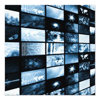 Futuristic Digital Age TV and Channels Background 5.25x5.25 Square Paper Invitation Card
