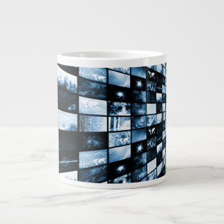 Futuristic Digital Age TV and Channels Background Large Coffee Mug