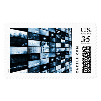 Futuristic Digital Age TV and Channels Background Postage
