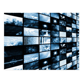Futuristic Digital Age TV and Channels Background Postcard