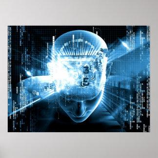 Futuristic digital head picture by healinglove print