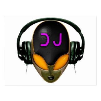 Futuristic DJ with Headphones - Orange Style Postcard