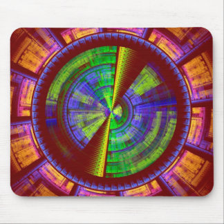Futuristic Fractal Tech Disc Red Orange And Green Mouse Pad