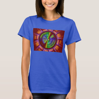 Futuristic Fractal Tech Disc Red Orange And Green T-Shirt