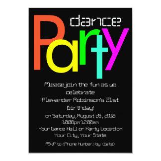 """Futuristic Fun 5x7 Dance Party Invitation 5"""" X 7"""" Invitation Card"""