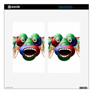 Futuristic Funny Monster Character Face Decals For Kindle Fire