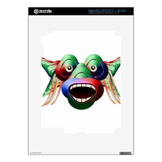 Futuristic Funny Monster Character Face iPad 3 Decal