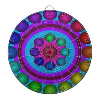 Futuristic Futurism 3D Design Rainbow Target Dart Board