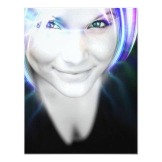 Futuristic Glowing Hair Woman Card