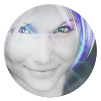 Futuristic Glowing Hair Woman Plate